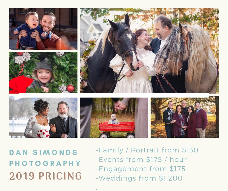 Dan Simonds Photography | 2019 Pricing Guide